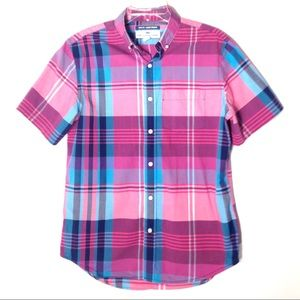 Old Navy Women's Pink Plaid Short Sleeve Shirt M
